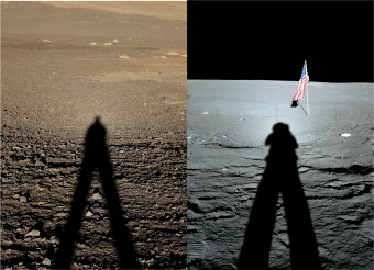Immagine mette in evidenza l'aumento di luminosità intorno all'ombra di un astronauta sulla Luna (a destra) e dell'astronomo Simone Zaggia nel deserto del Paranal (a sinistra) che mostra in entrambi i casi l'aumento di luminosità intorno all'ombra della testa. L'aumento è più forte sulla Luna a causa dell'assenza di atmosfera