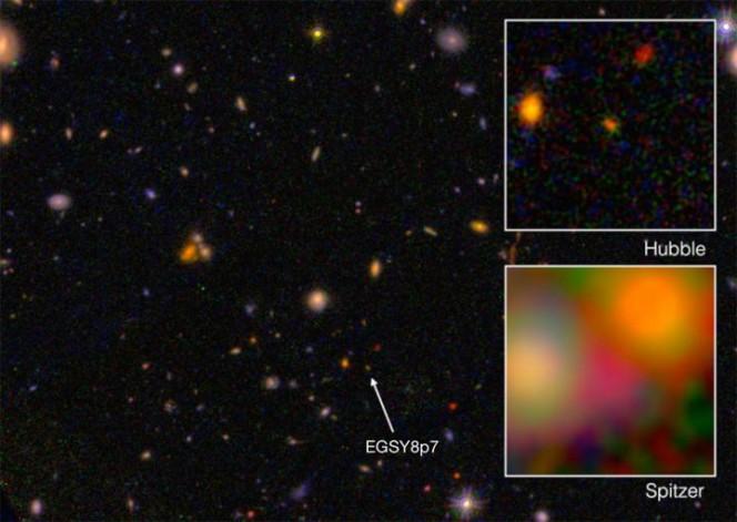 Questa è la galassia EGS8p7, osservata dai telescopi spaziali Hubble (sullo sfondo e in alto a destra) e Spitzer (in basso a destra). Crediti: I. Labbé (Leiden University), NASA/ESA/JPL-Caltech