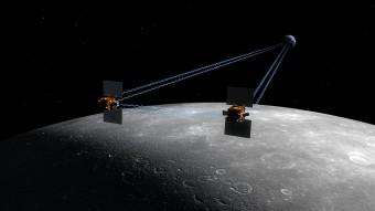 Rappresentazione artistica delle sonde gemelle GRAIL sulla superficie lunare. Crediti: NASA/JPL