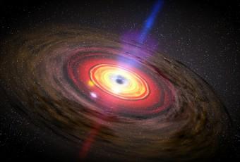 Rappresentazione artistica di un nucleo galattico attivo, con getti di materiale che esce da un buco nero centrale. Crediti: NASA/Dana Berry/Skyworks Digital