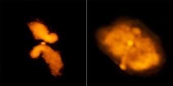 Nel box a sinistra, la galassia J0702+5002, che secondo i ricercatori non è del tipo causato da una fusione. A destra, la galassia J1043+3131 che invece è ritenuta una valida candidata per quel tipo di galassia. Crediti:Roberts, et al.; Bill Saxton, NRAO/AUI/NSF
