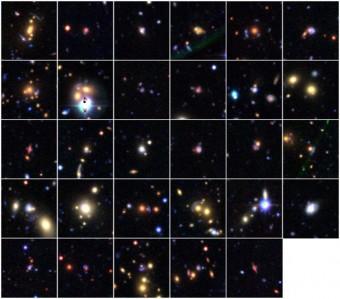 Le 29 potenziali lenti gravitazionali individuate dai volontari del progetto Space Warps. Credti: Space Warps, Canada-France-Hawaii Telescope Legacy Survey