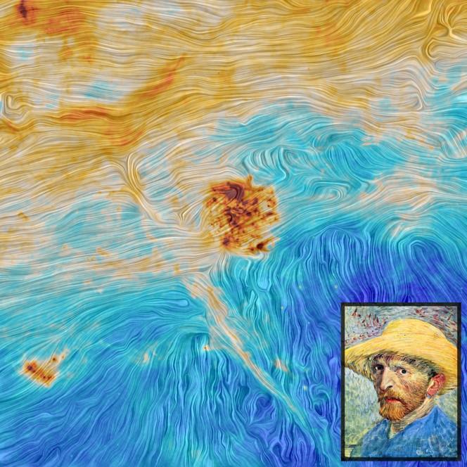 Le Nubi di Magellano nell'obiettivo del satellite ESA Planck (crediti: ESA e Planck Collaboration), a confronto con uno dei più celebri autoritratti di Van Gogh.