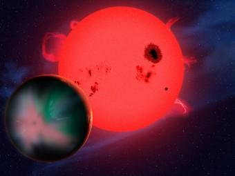 Illustrazione di una esopianeta orbitante una stella nana rossa. Crediti: David A. Aguilar (CfA)