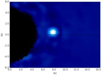 Un fotogramma dell'animazione: al centro, l'esopianeta Beta Pictoris B, come appare dalle riprese del Gemini Planet Imager (GPI) installato al telescopio Gemini South sulle ande cilene. Crediti: Maxwell Millar-Blanchaer