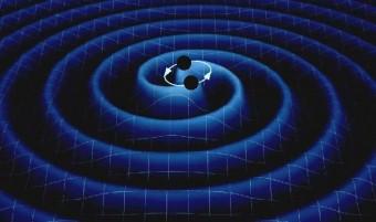 Rappresentazione artistica di un sistema di due stelle di neutroni in rotazione che perdono energia a causa dell'emissione di onde gravitazionali.