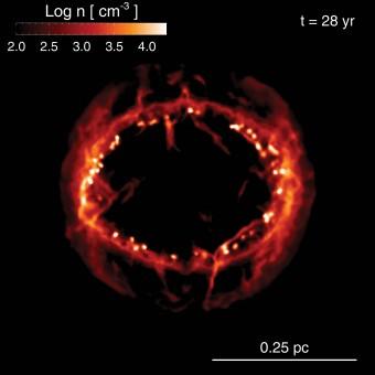Interazione dell'onda d'urto della supernova 1987a con il mezzo circumstellare disomogeneo. La figura mostra la distribuzione spaziale della densità di particelle del plasma investito dall'onda d'urto elaborata  dal modello teorico a 28 anni dall'esplosione