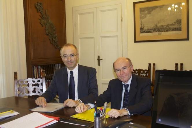 Gabriel Chardin, President du Comité des Très Grandes Infrastructures de Recherche (TGIR) del CNRS a sinistra, e Antonio Masiero, vicepresidente dell'INFN a destra
