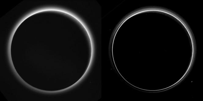 In questa immagine, il Sole si trova dietro Plutone e ne illumina la foschia atmosferica. Nell'elaborazione di destra si distinguono diversi strati, mentre in quella a sinistra si intravedono dei raggi crepuscolari, simili alle ombre proiettate dalle montagne terrestri sulle nubi dopo il tramonto. Crediti: NASA/Johns Hopkins Univ./SwRI