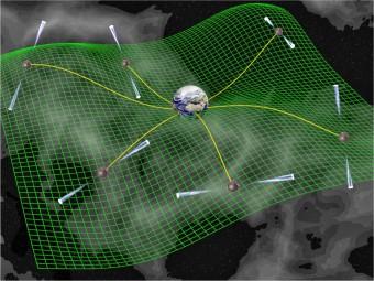 Rappresentazione artistica di uno studio temporale di pulsar in cui i segnali subiscono variazioni dovute alla deformazione del tessuto spazio-temporale. Crediti: David J. Champion
