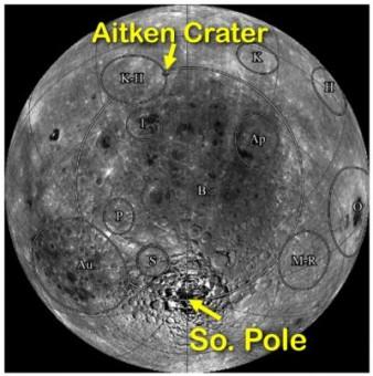 Il Bacino South Pole-Aitken sul lato nascosto della Luna. Crediti: WUSTL/Brad Jolliff