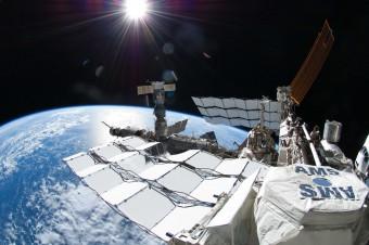L'esperimento Alpha Magnetic Spectrometer a bordo della Stazione Spaziale Internazionale.