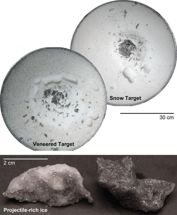 Gli esperimenti effettuati utilizzando un cannone alta velocità suggeriscono che quando piccoli corpi come asteroidi o frammenti di roccia ne colpiscono altri formati da silicati porosi o ghiacci gran parte del materiale impattato rimane sul corpo colpito. I risultati hanno forti implicazioni sulla composizione superficiale del pianeta nano Cerere. Crediti: NASA Ames Research Center