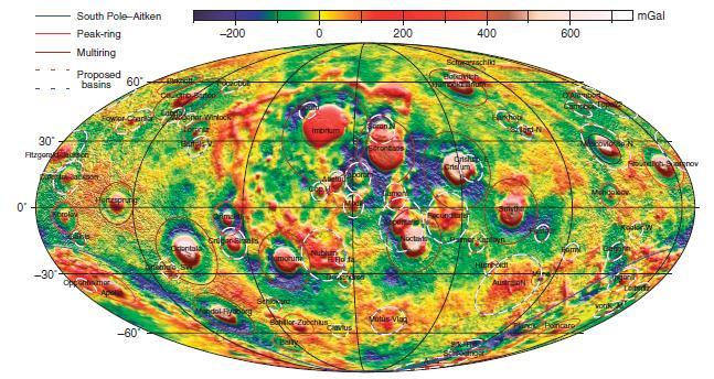 Una mappa in codice colore delle variazioni gravitazionali registrate da GRAIL. I dati sono espressi in Gal (Galileo), un'unità di misura per l'accelerazione. I cerchi rosso/bianchi mostrano i bacini aventi un solo anello topografico mentre quelli blu/bianchi indicano i bacini che non hanno un anello topografico ben definito, ma che sembrano essere bacini dalle variazioni gravitazionali registrate da GRAIL. Crediti: Neumann et al.
