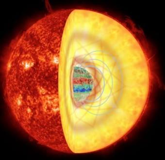 """Rappresentazione artistica di una stella gigante rossa dotata di intensi campi magnetici. Le onde sismiche che si propagano all'interno della stella rimangono intrappolate nel suo nucleo in presenza di un potente campo magnetico, dando origine a un """"effetto serra magnetico"""" che riduce l'ampiezza osservata delle pulsazioni stellari. Crediti: Rafael A. García (SAp CEA), Kyle Augustson (HAO), Jim Fuller (Caltech) & Gabriel Pérez (SMM, IAC), Foto da AIA/SDO"""