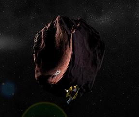 Rappresentazione artistica della sonda New Horizons che si avvicina ad un oggetto della Fascia di Kuiper. Credits: NASA