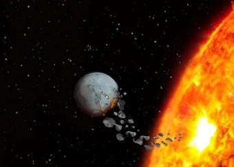 Rappresentazione artistica dell'ingestione di materiale protoplanetario da parte di una stella. Crediti: Vanderbilt University