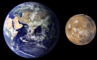 Terra e Marte a confronto. Crediti per le immagini: NASA/JPL/MSSS