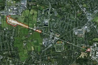 L'impianto del laser a raggi X europeo XFEL. In basso a destra la città di Amburgo e in alto a sinistra Schenefeld. Crediti: XFEL europeo