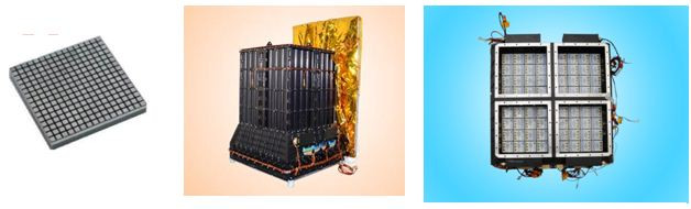 Da sinistra a destra: il rivelatore di CZTI, il modulo assemblato, i quattro quadranti del rivelatore. Crediti: Astrosat collaboration
