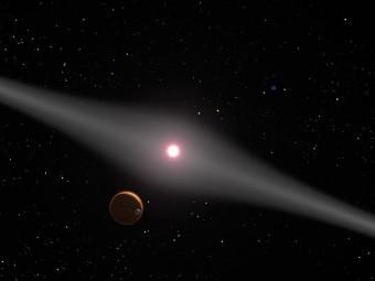 Un'immagine artistica di AU Microscopii. Crediti: NASA/ESA/G. Bacon (STScI)