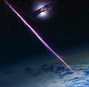 Rappresentazione artistica di raggi cosmici che stanno impattando sull'atmosfera terrestre.