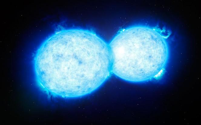 Rappresentazione artistica che mostra VFTS 352 - la stella doppia più calda e più massiccia. Le due componenti sono così vicine da toccarsi e condividere parte della loro materia. Crediti: ESO/L. Calçada