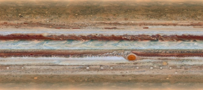 This new image from the largest planet in the Solar System, Jupiter, was made during the Outer Planet Atmospheres Legacy (OPAL) programme. The images from this programme make it possible to determine the speeds of Jupiter's winds, to identify different phenomena in its atmosphere and to track changes in its most famous features. The map shown was observed on 19 January 2015, from 15:00 UT to 23:40 UT.