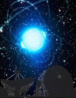 In primo piano: il Jodrell Bank Observatory. Sullo sfondo: la rappresentazione artistica di una pulsar. Crediti: N. Andersson