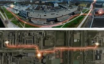 Il set dell'esperimento presso il campus della Delft University of Technology, con i due laboratori A e B alle estremità, separati da 1.3 km, e il laboratorio C in basso al centro. Crediti: Slagboom en Peters BV