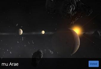 La proposta italiana presentata dall'INAF riguarda il sistema Mu Arae, qui rappresentato con una visione artistica. Crediti: IAU