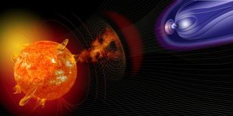 Rappresentazione artistica di una tempesta solare in viaggio verso la Terra. Crediti: NASA