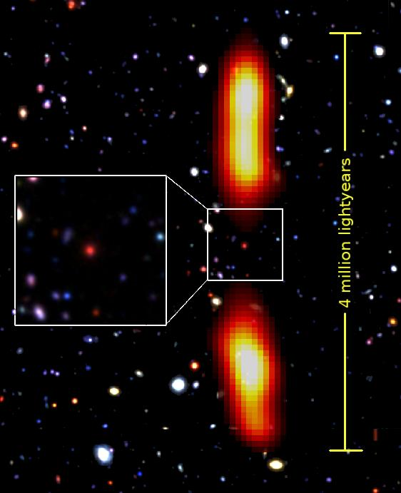 A team of astronomers working at the National Centre for Radio Astrophysics (NCRA, TIFR), Pune have discovered, using the Giant Metrewave Radio Telescope (GMRT), an extremely rare galaxy of gigantic size. This galaxy -- located about 9 billion light years away towards the constellation Cetus -- emits powerful radio waves and has an end to end extent of a whopping 4 million light years! Such galaxies with extremely large 'radio size' are appropriately called giant radio galaxies. How do galaxies with an optical size of a hundred thousand light years produce radio emission several million light years in extent? It is argued that the presence of a super massive black hole at the centre of the galaxy drives large scale jets of hot plasma in diametrically opposite directions which eventually give rise to large radio lobes (see the image). While radio galaxies with size less than a million light years are common, giant radio galaxies are extremely rare, even more so, at large cosmic distances where only a handful have been discovered so far. This newly discovered galaxy known by its scientific name 'J021659-044920' is the newest member of this elite group. Under some special circumstances, the central black hole may stop producing the radio jet, and then the bright radio lobes fade away, within a few million years, due to lack of replenishment. What makes J021659-044920 special, is that it has been caught in this dying phase, where the radio jet appears to have switched off and the radio lobes have started fading. The fading of the lobes is caused by their losing energy in two ways, one, by emitting radio waves which show up as the gigantic radio lobes and two, by transferring energy to photons from the cosmic microwave background via a process known as inverse Compton scattering. This latter mechanism leads to faint X-ray emission, which is seen to emanate from the radio lobes of this galaxy. Such dying radio objects are best studied using a low frequency radio telescope
