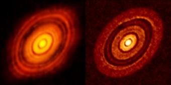 A sinistra: l'immagine di HL Tau ripresa da ALMA. A destra: Lo stesso sistema come appare dalla simulazione del team guidato da Giovanni Dipierro