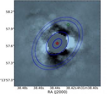 Il sistema di HL Tau ripreso nella banda infrarossa L' dal Large Binocular Telescope. La stella (la cui posizione è indicata dal simbolo rosso) è stata mascherata per aumentare il contrasto del disco di polveri. La ripresa non ha individuato sorgenti puntiformi. Il cerchietto verde indica la posizione di un protopianeta segnalato in uno studio del 2008 (Greaves et al.) ma non confermato. Le due ellissi in blu indicano la posizione degli anelli scuri che presentano il maggiore contrasto nell'immagine di ALMA. Crediti: Testi et al, 2015