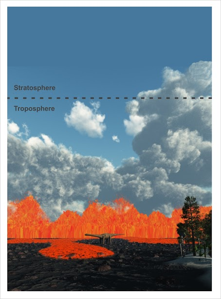 An artist's impression of a typical flood basalt eruption, including lava fountaining along a curtain of fire. New research shows that the climatic impacts of such eruptions were less grim than scientists had previously suggested, with most of the volcanic gases and aerosol particles confined to the lowermost atmosphere.
