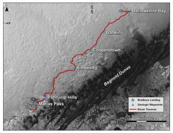 Il tragitto percorso da Curiosity dal momento del suo ammartaggio nel 2012. Crediti: NASA / JPL-Caltech / University of Arizona.