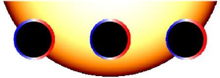 In questa rappresentazione il pianeta è mostrato in tre posizioni mentre orbita davanti alla sua stella madre