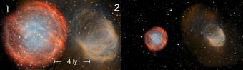Confronto in scala di due nebulose assai evolute: PuWe 1 (indicata dal numero 1) e Abell 21 (con il numero 2). Nel pannello di sinistra sono riportate le dimensioni dei due oggetti celesti calcolati attraverso il nuovo metodo proposto dal team di David Frew. In quello di destra vengono riportate le dimensioni delle due nebulose calcolate con gli attuali metodi, che sottostimano in modo significativo le loro distanze e quendi le rispettive dimensioni. Crediti: NOAO/AURA/NSF, Ivan Bojicic, David Frew, Quentin Parker (HKU)