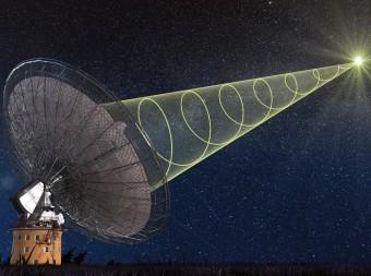 Rappresentazione artistica di un Fast Radio Burst (FRB) il cui segnale polarizzato viene captato dal radiotelescopio di Parkes in Australia. Crediti: Swinburne Astronomy Productions
