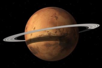 Marte come potrebbe apparire tra qualche decina di milioni di anni, con il suo anello composto dai resti della sua luna Phobos. Crediti: Tushar Mittal con Celestia 2001-2010