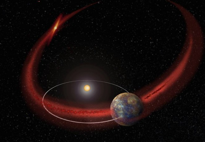 Mercurio sembra subire una pioggia di meteoriti che ricorre quando la sua orbita incrocia la scia detriti lasciati dalla cometa Encke (rappresentazione artistica). Crediti: NASA/Goddard