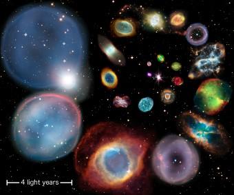 Un collage di 22 nebulose planetarie disposte per ordine crescente di dimensione, calcolata con il nuovo metodo proposto dai ricercatori dell'Università di Hong Kong. Crediti: ESA/Hubble & NASA, ESO, Ivan Bojicic, David Frew, Quentin Parker