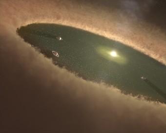 Illustrazione artistica che mostra come immaginiamo si formino i pianeti intorno a una stella simile a LkCa 15. Isolando la lunghezza d'onda che corrisponde alla riga H-alfa, gli astronomi di Stanford e dell'Università dell'Arizona sono stati in grado di identificare un pianeta che si trova in una delle fasi iniziali della sua formazione. Crediti: NASA/JPL-Caltech