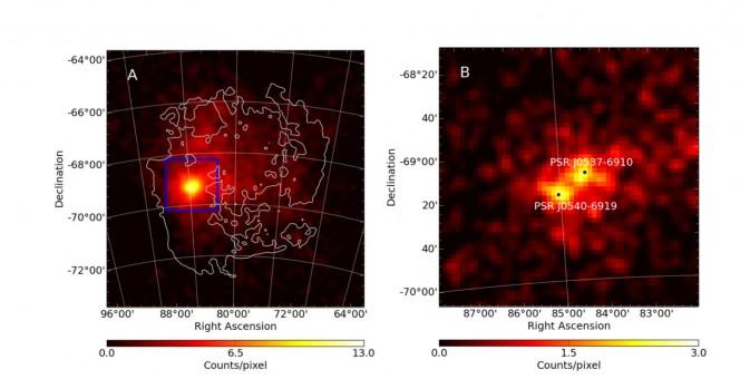 Riquadro A Mappa gamma (sull'intero intervallo di energia coperto dalla missione Fermi) di una regione di 10x 10 gradi centrata sulla Grande Nube di Magellano. Il contorno bianco mostra la forma della galassia misurata dall'emissione dell'idrogeno neutro. Riquadro B zoom nella regione di 2x2 gradi centrata su 30 Doradus, ottenuta selezionando solo i fotoni con energia superiore a 2 GeV. Due sorgenti, corrispondeti ai pulsar PSR J0540−6919 and PSR J0537−6910 emergono chiaramente.
