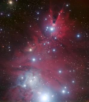 L'oggetto celeste denominato NGC 2264, composto dall'ammasso stellare 'Albero di Natale' e dalla nebulosa Cono, visibile in alto nell'immagine. Crediti: ESO