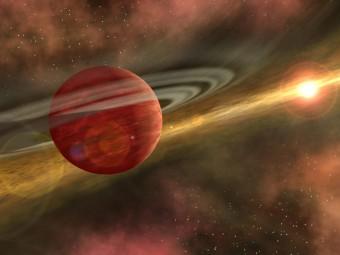 Rappresentazione artistica di HD106906b, un giovane pianeta grande 11 volte Giove e in un'orbita molto lontana rispetto alla sua stella ospite (16 volte la distanza di Plutone dal Sole). La stella ha 13 milioni di anni di età ed è ancora circondata un disco di detriti, residuo delle fasi di formazione del sistema stellare. Crediti: NASA/JPL-Caltech