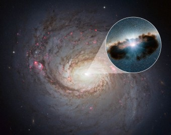The NASA/ESA Hubble Space Telescope has captured this vivid image of spiral galaxy Messier 77 — a galaxy in the constellation of Cetus, some 45 million light-years away from us. The streaks of red and blue in the image highlight pockets of star formation along the pinwheeling arms, with dark dust lanes stretching across the galaxy's starry centre. The galaxy belongs to a class of galaxies known as Seyfert galaxies, which have highly ionised gas surrounding an intensely active centre.