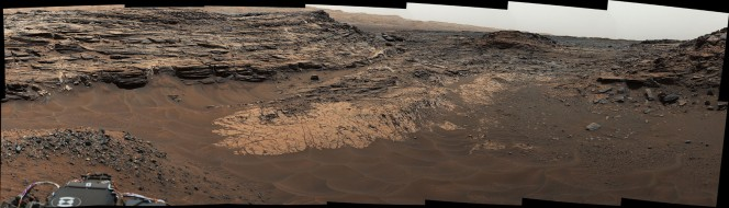 """Rocks Rich in Silica Present Puzzles for Mars Rover Team 'Big Sky' and 'Greenhorn' Drilling Area on Mount Sharp'Buckskin' Drill Hole and CheMin X-ray Diffraction'Big Sky' and 'Greenhorn' Drill Holes and CheMin X-ray DiffractionSilica in Opal at 'Buckskin' and 'Greenhorn' on Mount SharpSilicon and Titanium Correlation in Selected Rocks at Gale Crater, Mars'Big Sky' and 'Greenhorn' Elemental ComparisonAlteration Effects at Gale and Gusev Craters'Marias Pass,' Contact Zone of Two Martian Rock Units Curiosity Rover's Traverse, First 1,185 Sols on MarsCuriosity's Path During Studies of High-Silica RocksArea with Silica-Rich Target Near 'Marias Pass'Full-Circle View Near 'Marias Pass' on MarsDetails on Silica-Rich 'Elk' Target near 'Marias Pass'Discolored Fracture Zones in Martian SandstoneDetail of Discoloration Pattern Seen by Curiosity This May 22, 2015, view from the Mast Camera (Mastcam) in NASA's Curiosity Mars rover shows the """"Marias Pass"""" area where a lower and older geological unit of mudstone -- the pale zone in the center of the image -- lies in contact with an overlying geological unit of sandstone. Credit: NASA/JPL-Caltech/MSSS"""