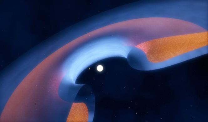 Questo schema mostra come è distribuita la polvere (in marrone) e il gas (in blu) intorno alla stella e come il giovane pianeta stia spazzando la zona centrale della lacuna. Crediti: ESO/M. Kornmesser